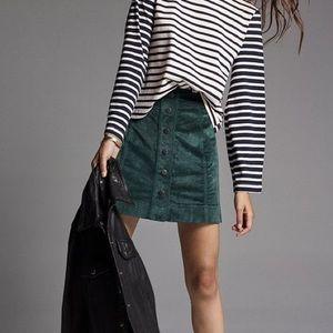 madewell emerald velveteen button front skirt